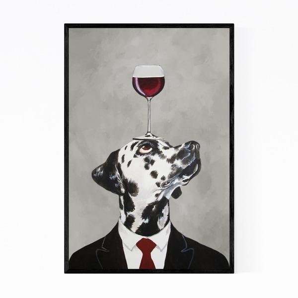 Noir Gallery Funny Dalmatian Wineglass Painting Framed Art Print