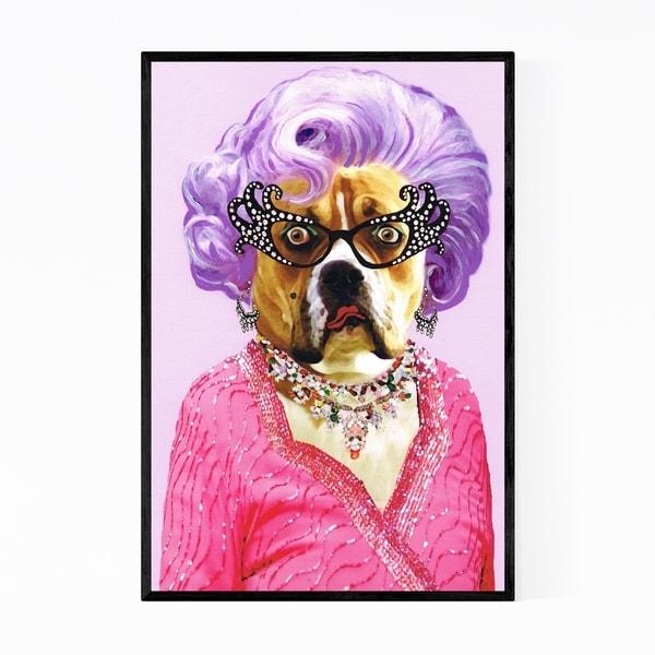 Noir Gallery Funny Dame Edna Bulldog Painting Framed Art Print