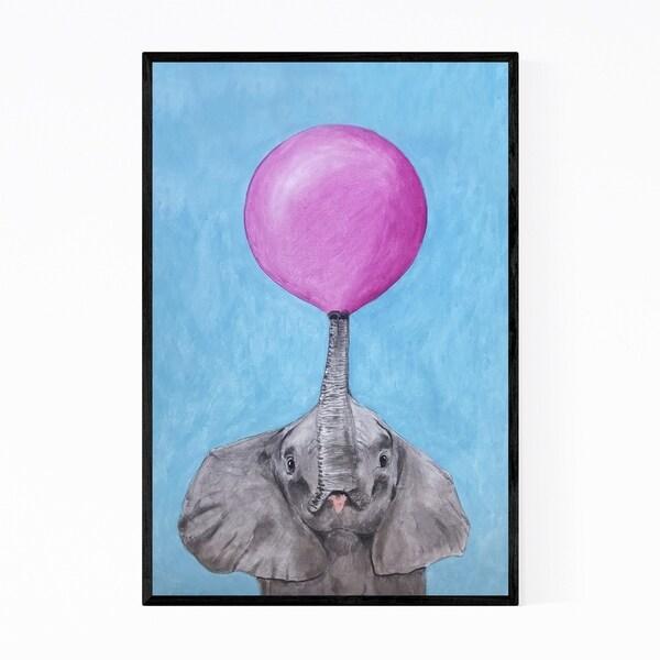 Noir Gallery Funny Elephant Bubblegum Painting Framed Art Print