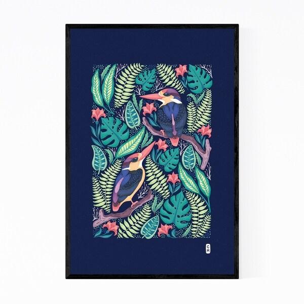 Noir Gallery Kingfishers Birds Minimal WIldlife Illustration Framed Art Print