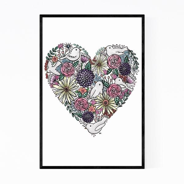 Noir Gallery Heart Love Cute Floral Botanical Framed Art Print