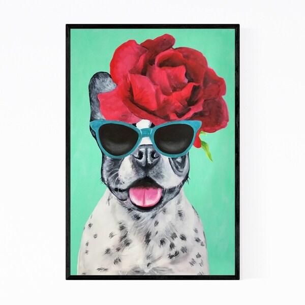 Noir Gallery Flower Power Bulldog Turquoise Painting Framed Art Print