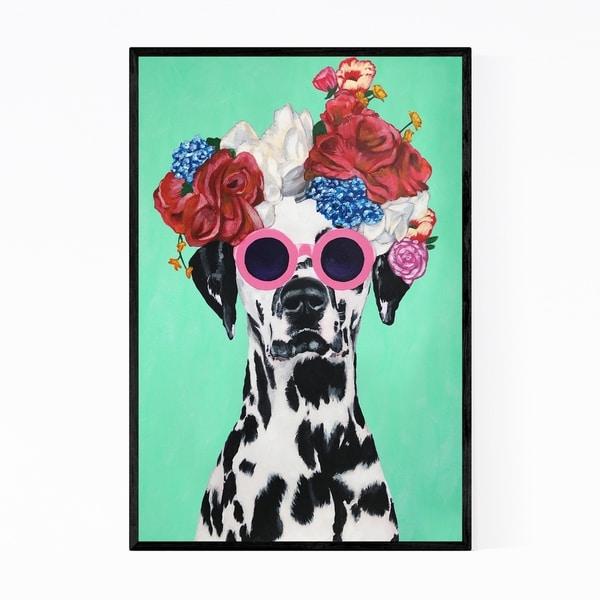 Noir Gallery Flower Power Dalmatian Painting Framed Art Print