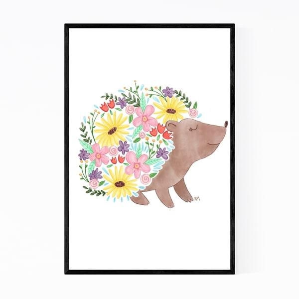 Noir Gallery Cute Hedgehog Animal Floral Framed Art Print