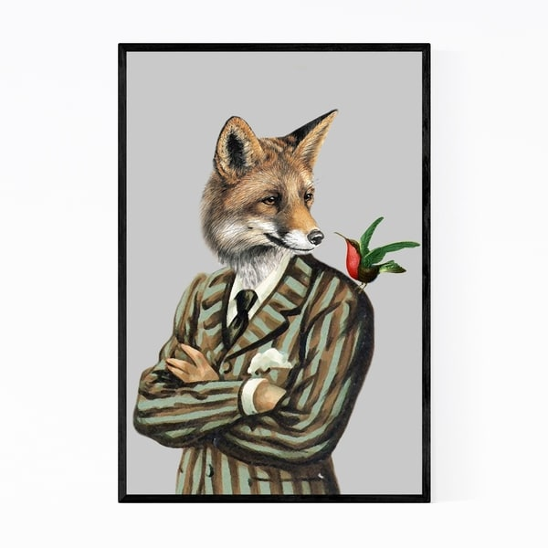 Noir Gallery Funny Fox Bird Painting Framed Art Print