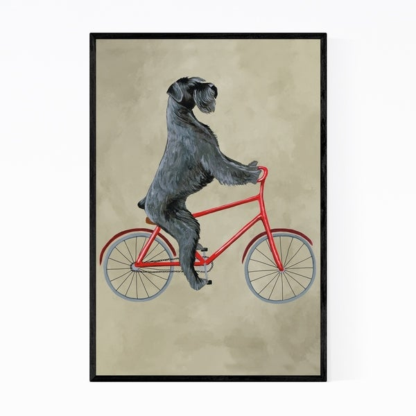 Noir Gallery Giant Schnauzer On Bicycle Painting Framed Art Print