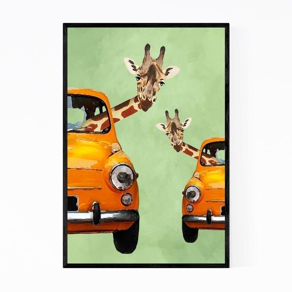 Noir Gallery Giraffes In Yellow Cars Painting Framed Art Print
