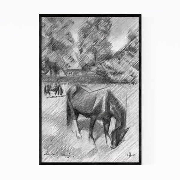 Noir Gallery Horse Animal Drawing Framed Art Print