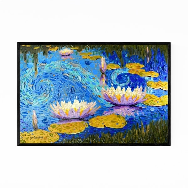 Noir Gallery Lily Pads Floral Nature Painting Framed Art Print