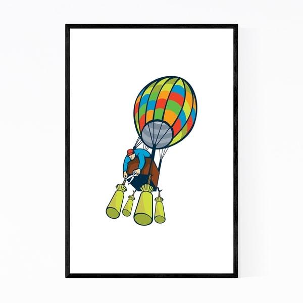 Noir Gallery Hot Air Balloon Retro Framed Art Print