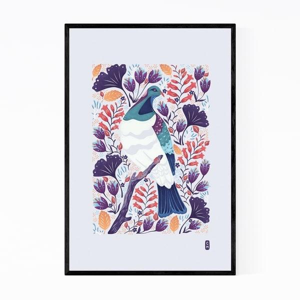 Noir Gallery New Zealand Wood Pigeon Bird Floral Framed Art Print