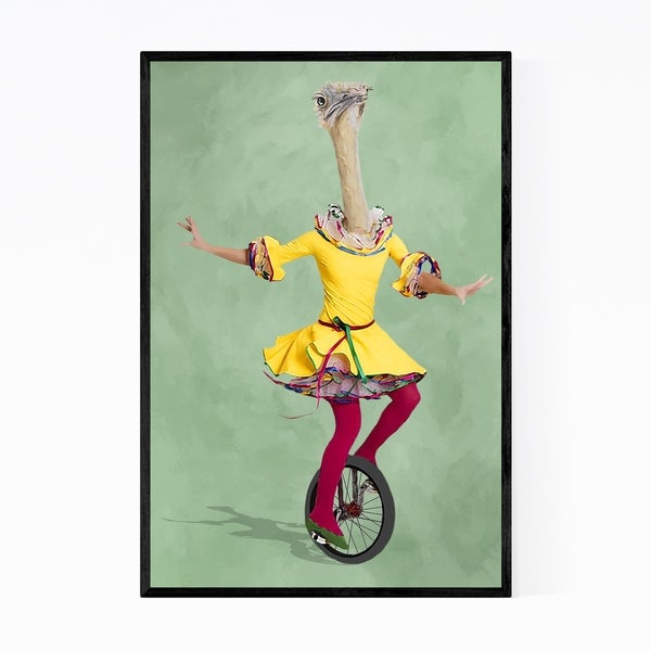 Noir Gallery Funny Ostrich Monocycle Painting Framed Art Print