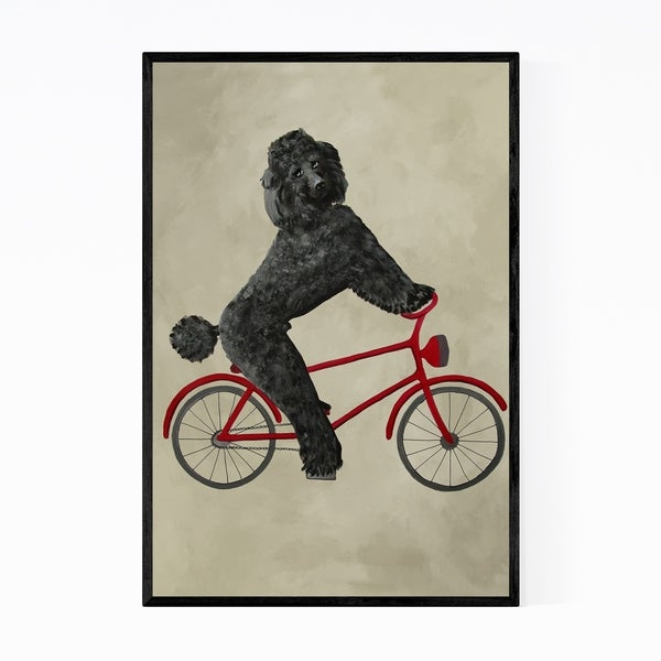 Noir Gallery Poodle On Bicycle Painting Framed Art Print