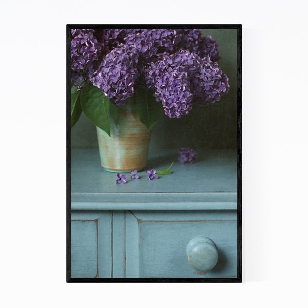 Noir Gallery Purple Lilac Vase Still Life Pastel Framed Art Print