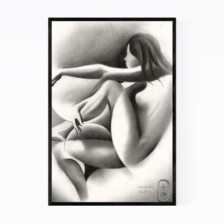 Noir Gallery Nude Figurative Abstract Drawing Framed Art Print