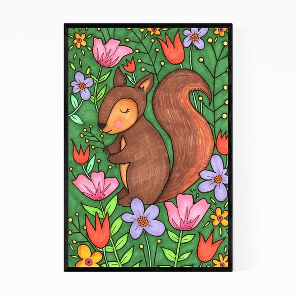 Noir Gallery Cute Squirrel Animal Floral Botanical Framed Art Print