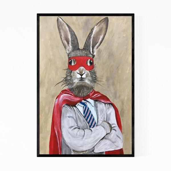 Noir Gallery Funny Superman Rabbit Painting Framed Art Print