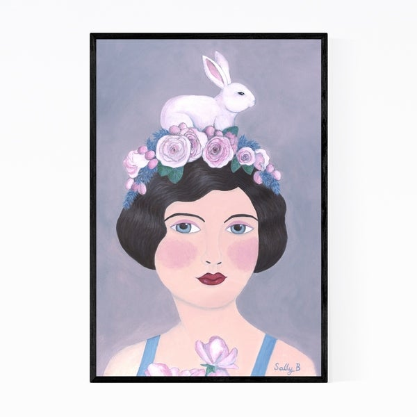 Noir Gallery Feminine Woman Rabbit Floral Framed Art Print