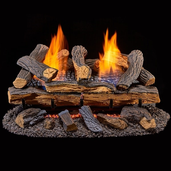 Duluth Forge Ventless Dual Fuel Gas Log Set - 24 in. Berkshire Split Oak - Remote Control - 24 Inch. Opens flyout.