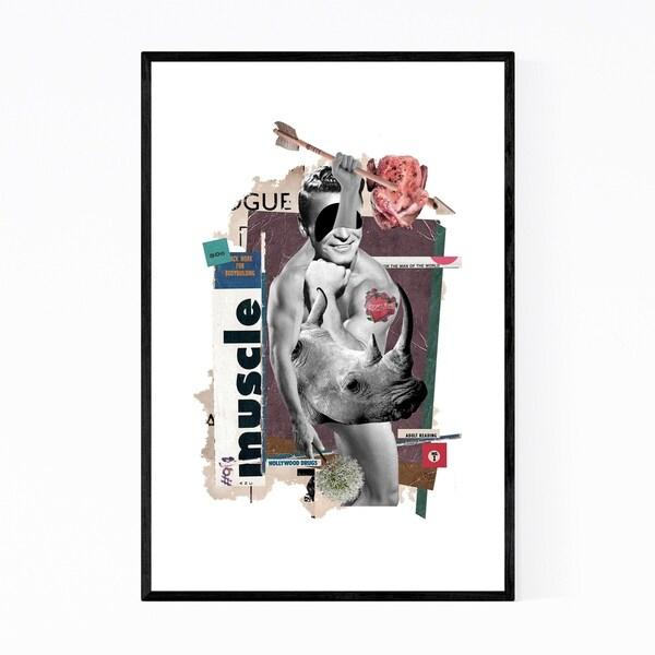 Noir Gallery Vintage Magazine Man Strong Collage Framed Art Print