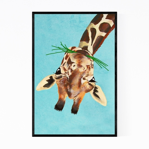 Noir Gallery Funny Upside Down Giraffe Painting Framed Art Print