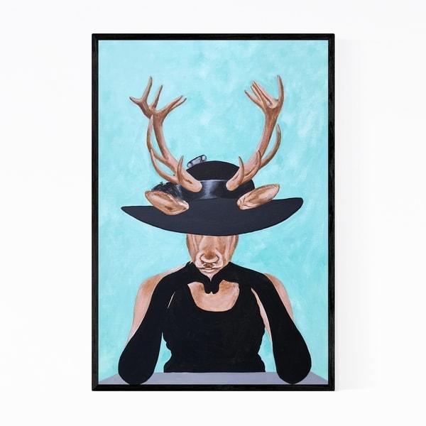Noir Gallery Funny Vogue Deer Painting Framed Art Print
