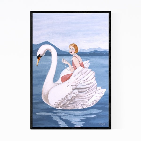 Noir Gallery Feminine Woman Swan Nature Mountains Framed Art Print