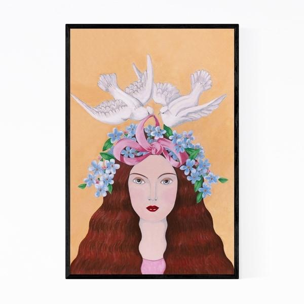 Noir Gallery Women Feminine Floral Doves Bird Framed Art Print