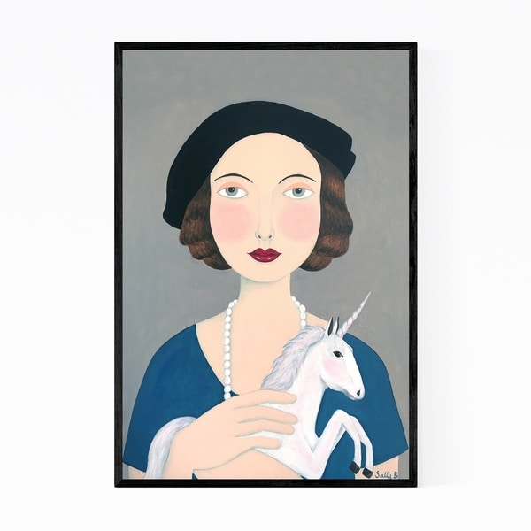 Noir Gallery Feminine Woman Unicorn Fantasy Framed Art Print