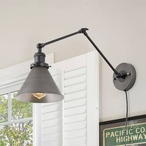 Carbon Loft Dallin Adjustable Wall Sconces Plug-in Sconces Black Swing Arm Wall Lamp for Bedroom