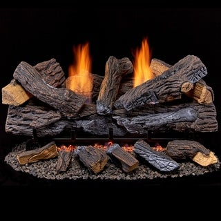Duluth Forge Ventless Dual Fuel Gas Log Set - 30 in. Berkshire Stacked Oak, 33,000 BTU, Remote Control - Model# DLS-30R-2
