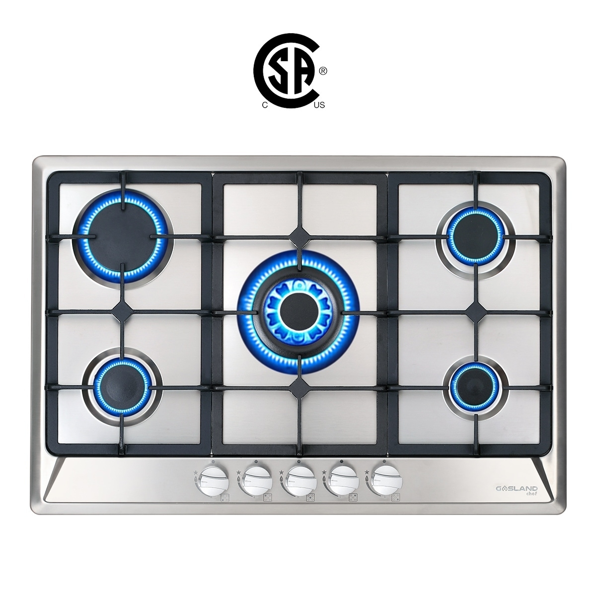 Gas Stove Top with 5 Sealed Burners Easy To Clean Thermocouple Protection Gasland chef GH90SF 36 Built-in Gas Stove Top Gas Cooktop Stainless Steel LPG Natural Gas Cooktop ETL Safety Certified