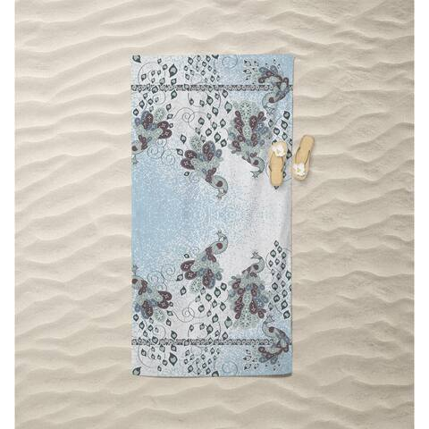 Peacock Painting Beach Towel by Amrita Sen