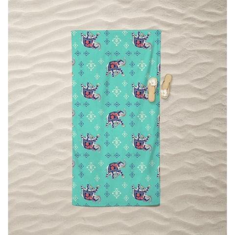 Mughal Elephant Beach Towel by Amrita Sen