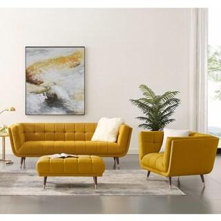 Art-leon 2 Piece Soft Fabric Sofa and Armchair Set (Medium Yellow)
