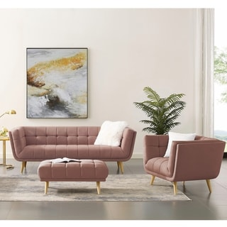 Art-leon 2 Piece Soft Fabric Sofa and Armchair Set (Coral Pink)