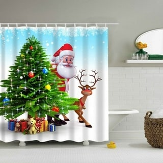 """Polyester Shower Curtain with Hooks #1 Santa 72"""" x 72"""""""