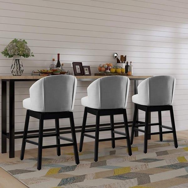 Shop Vanity Art Kitchen Bar Stools Set of 2 Solid Wood ...