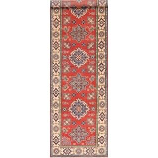 "Kazak Carpet Hand Knotted Wool Oriental Pakistani Traditional Rug - 12'6"" x 3'9"" Runner"