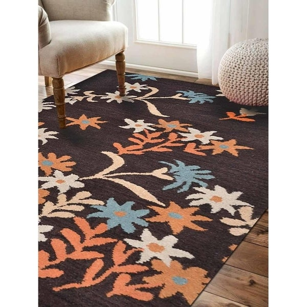 Floral Transitional Hand Tufted Wool Area Rug Indian Oriental Carpet