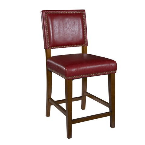 Wooden and Leatherette Bar Stool with Nailhead Trim, Red and Brown
