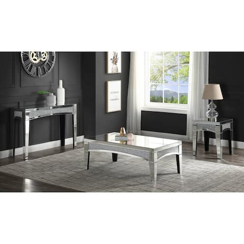 Nowles End Table in Mirrored & Faux Stones