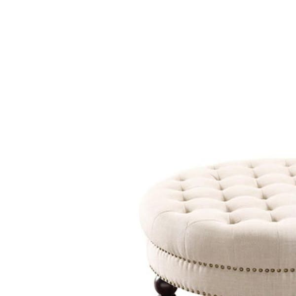 Phenomenal Shop Fabric Upholstered Round Tufted Ottoman With Wood Legs Spiritservingveterans Wood Chair Design Ideas Spiritservingveteransorg
