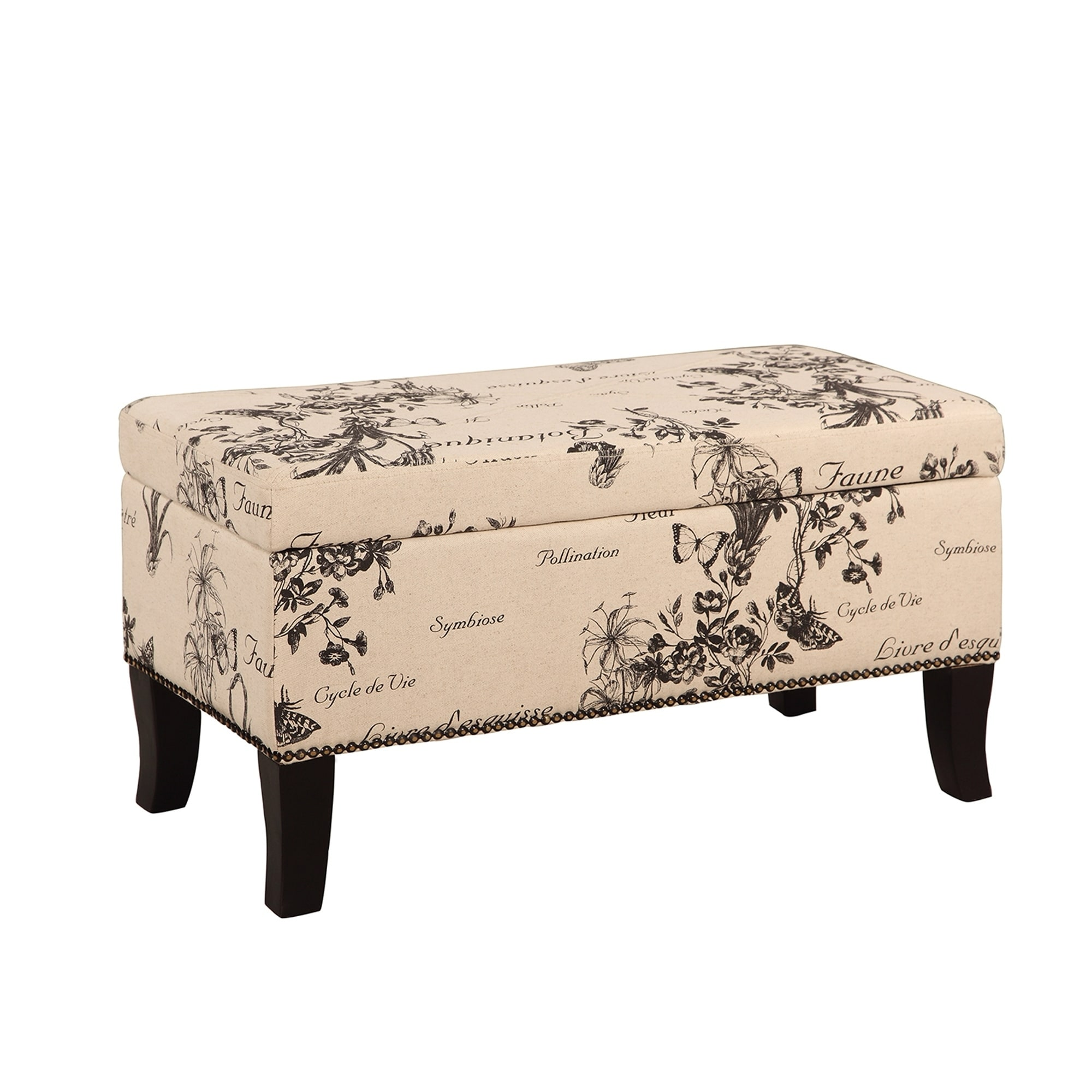 Fabric Upholstered Wooden Ottoman with Botanical Print,Beige and Black