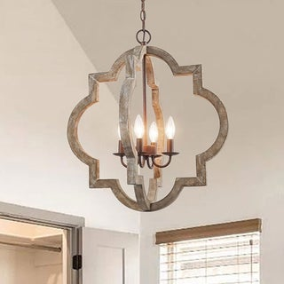 The Gray Barn Hester Gulch Farmhouse 4-light Chandelier in Taupe  (As Is Item)