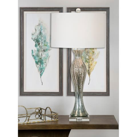Porch & Den Rockingham Slate Grey Glass 33-inch Table Lamp w/ White Fabric Shade