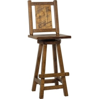 Set of 2 Western Twist Swivel Bar Stools in Wormy Maple (Provincial Stain)