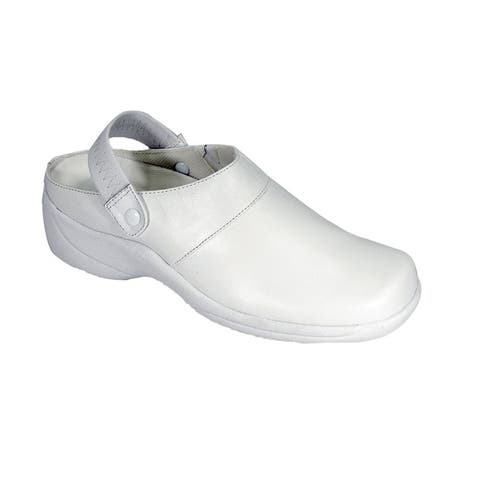 24 HOUR COMFORT Callie Wide Width Comfortable Leather Slingback Clogs