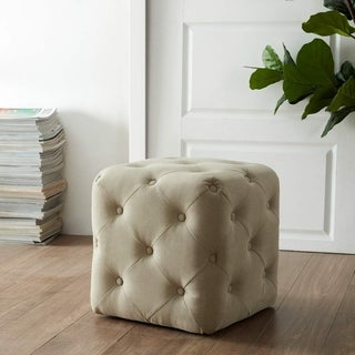 Kotter Home Square Ottoman with Allover Button Tufting (Tan)