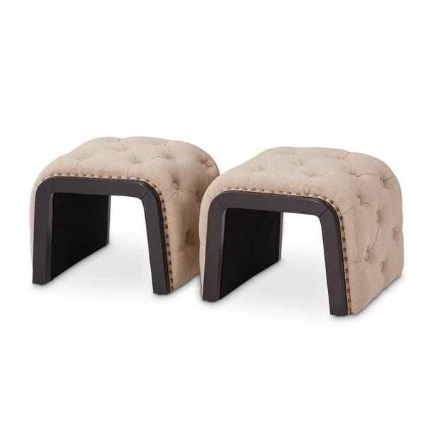 Awesome Shop Kaylee Natural Tufted Bench With 2 Nested Ottomans By Uwap Interior Chair Design Uwaporg